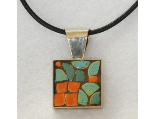 Turquoise and Orange Square Necklace